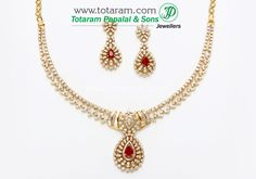 18K Gold Diamond Necklace & Earrings Set with Ruby