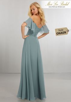 Style ONAEN  Boho Chic Chiffon Bridesmaids Dress with Off the Shoulder Neckline  Softly Draped, A-Line Chiffon Gown with Scooped Neckline, Flounced Off-the-Shoulder Strap Detail and Scoop Back with Zipper. View Chiffon Swatch Card for Color Options. Shown in Deep Sea