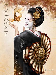 Steampunk Geisha Canvas Print / Canvas Art by Jennifer Garstang