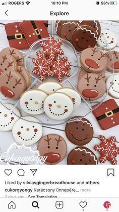 Cute Christmas Cookies, Christmas Snacks, Iced Cookies, Cute Cookies, Christmas Cooking, Christmas Goodies, Holiday Cookies, Holiday Treats, Christmas Diy