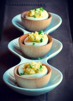 Goat cheese deviled eggs
