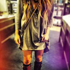 gray  button up   would be so cute with high socks or even tights and boots.