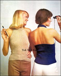 PDF vintage knitting pattern to make a womans/teens Svelte Halter Top. Whats cool about this halter top? For one, it draws the eye to the graceful