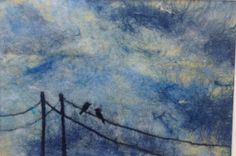 Birds on the wire. Wet felted and needle felted