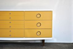 Mid Century Modern Yellow and White Painted Dresser