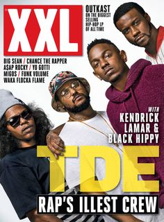 Kendrick's furry magenta hoodie is all kinds of glorious, but it is ScHoolboy Q's Angel-Ed Hardy-esque Bucket Hat that truly moves me...a refreshing departure from the Sad Beige Bucket Hats he normally wears. And those glasses...