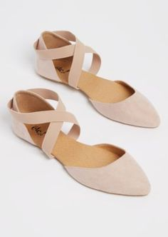 It& like your favorite ballet flat - only better. Fashioned with soft micro suede it boasts a pointed toe and cross straps at the ankle made of webbed elastic. Fashion Slippers, Fashion Shoes, Emo Fashion, Ankle Strap Flats, Strap Sandals, Toe Ring Sandals, Girls Flats, Prom Heels, Cute Flats