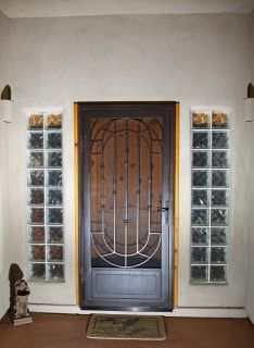 Wood door with glass block windows. I have always loved glass brink ...
