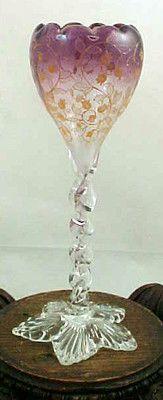 Antique Bohemian Moser Purple Amethyst Hand Painted Enamel Floral Art Glass Vase | eBay