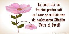 La multi ani cu fericire pentru toti  cei care se sarbatoresc da sarbatoarea Sfintilor Petru si Pavel!