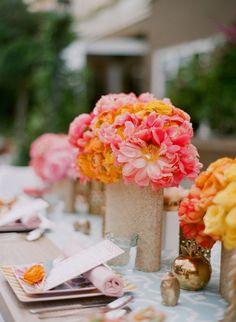 "So pretty...    Wedding reception tablescape and flower/centerpiece design by Mindy Weiss + Elizabeth Messina from ""Rue Magazine."""