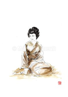 Geisha japanese woman oriental kimono asian ink by SamuraiArt