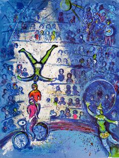(Belarus) The circus, Paris 1967 by Marc Chagall Oil paintings. between Surrealism and NeoPrimivism. Marc Chagall, Chagall Paintings, Chagall Prints, Oil Paintings, Circus Art, Klimt, French Artists, Pablo Picasso, Art Plastique