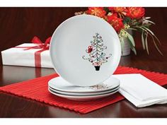 Hoot's Decorated Tree Salad Plate Set (4-pc.) by Rachael Ray at Food Network Store