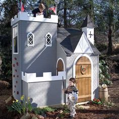The only thing missing around this castle playhouse is the moat! Our Sassafras Castle Playhouse will delight little boys and girls alike. This playhouse fortress features a tower with a rock-climbing wall and an enclosed courtyard where little boys can be