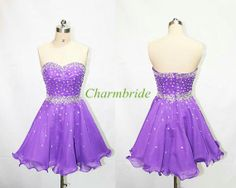 Short purple chiffon prom dresses with crystals,bead sweetheart homecoming dress in blue,cheap latest gowns for holiday party.