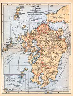 70424-0023 - Map of Kyushu 1920