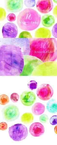 Pink and Green Watercolor Circles. Wedding Card Templates