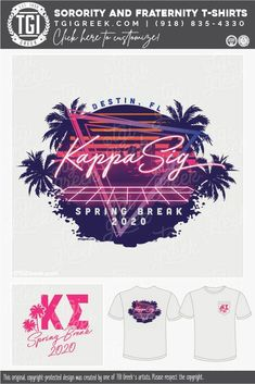 Kappa Sigma shirts by TGI Greek! sorority apparel, sorority shirts, custom shirts, custom sorority shirts, custom fraternity apparel, custom tees, fraternity shirts, fraternity tshirts, spring break, neon, palm tree, beach #springbreak #kappasigma #tgigreek Sorority Outfits, Sorority Shirts, Tee Shirts, Fraternity Shirts, Sorority And Fraternity, 80s Neon, Spring Break Trips, Sigma Kappa, Custom Tees