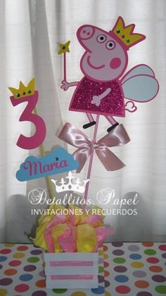 Peppa Pig Centerpiece centerpiece by Detallitospapel on Etsy Más 2 Birthday, 4th Birthday Parties, Birthday Party Decorations, Fiestas Peppa Pig, Cumple Peppa Pig, Peppa Pig Pinata, First Birthdays, Party Time, Marie