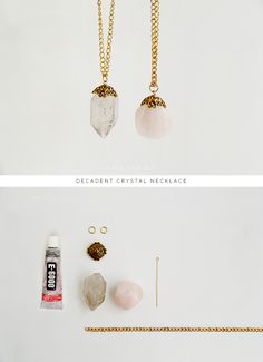DIY Decadent Crystal Necklace Crystals make beautiful and unique charms for neck. - DIY Decadent Crystal Necklace Crystals make beautiful and unique charms for necklaces. Gemstone Necklace, Crystal Necklace, Diy Necklace Stone, Diy Necklace Pendant, Beaded Necklace, Sapphire Necklace, Crystal Jewelry, Jewelry Necklaces, Diy Jewellery