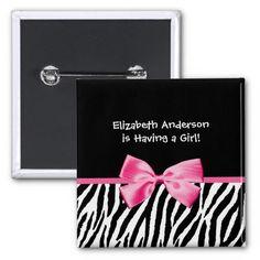 Trendy Pink And Black Zebra Print Girl Baby Shower Pin