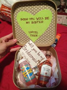 "How I asked my fiancé's sister to be my bridesmaid! ""Soon you will be my sister, until then. Will you be my bridesmaid?""---- minus the wine Bridesmaids And Groomsmen, Wedding Bridesmaids, Bridesmaid Gifts, Bridesmaid Ideas, Wedding Dresses, Wedding Gifts, Our Wedding, Dream Wedding, Wedding Stuff"