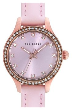 Ted+Baker+London+Crystal+Bezel+Leather+Strap+Watch,+24mm+available+at+#Nordstrom