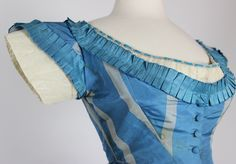 "French Blue with Wide Gray Stripes Silk Taffeta Gown with Two Bodices C 1860 | eBay seller sarahelizabethgalleryantiques, skirt unlined,hem with deep stiffened backing below hook & eye to raise hem by 3-4 inches; bust: 36""; waist: 25""; center front skirt length: 45"", back: 59""; hem circumference: 4-3/4 yards, period repair on evening bodice, some stains, small holes & restoration"