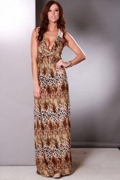 Brown Multi Mix Animal Print Crochet Sexy Maxi Dress