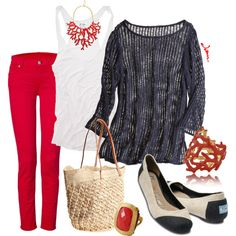 A fashion look from April 2012 featuring double layer tank top, ruby red jeans and ballerina pumps. Browse and shop related looks. Mommy Style, Style Me, Cool Style, Red Style, Cool Outfits, Casual Outfits, Jean Outfits, Red Pants Outfit, Red Jeans