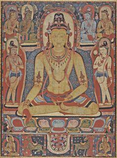 The Jina Buddha Ratnasambhava Central Tibet, a Kadampa Monastery, LACMA - Thangka Tibetan Art, Tibetan Buddhism, Buddhist Art, Buddha, Vajrayana Buddhism, Into The West, World Religions, Art Prints For Sale, Museum Collection