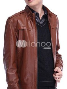 Deep Brown Leather Stand Collar Zipper Menandaposs Leather Jacket. See More Mens Leather Jackets at http://www.ourgreatshop.com/Men-039-s-Leather-Jackets-C781.aspx