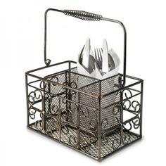 Anchor Hocking Reflections Square Metal Flatware Caddy - Serveware - This is perfect for those nice days when we eat outside.