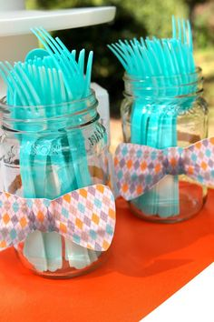 Little Man 1st Birthday Party Bow Tie Party Party Utensils http://www.sweetlychicevents.com