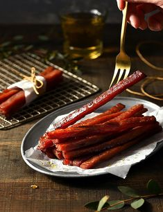 Thick Cut Honey Pork StripsThai Pork JerkyHerbal Honey Pork Strips Delicious Thin Cut PorkPork SuSu Pork Floss, Pork Strips, Pork Jerky, Natural Flavors, Herbalism, Bacon, How To Memorize Things, Honey, Meat