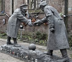 """This is a statue by Andy Edwards entitled """"All Together Now"""" which for the next few days will be on display in St Luke's, Liverpool's famous """"bombed out church"""". The figures are about to shake hands standing over a football which relates to the time that Liverpool History, Liverpool Home, Liverpool England, International Day Of Peace, British Soldier, Remembrance Day, World War One, Public Art, Bronze"""