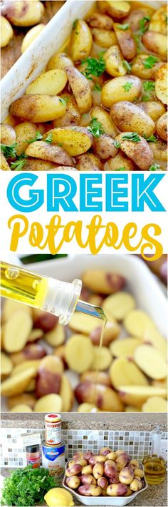 Greek Potatoes recipe from The Country Cook. Tender potatoes simmered in chicken broth seasoned with Greek flavors and fresh lemon. We absolutely loved it! #spon
