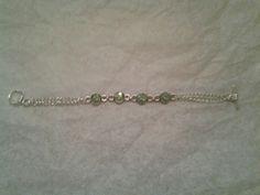 "August Peridot Infant birthstone bracelet 4"""