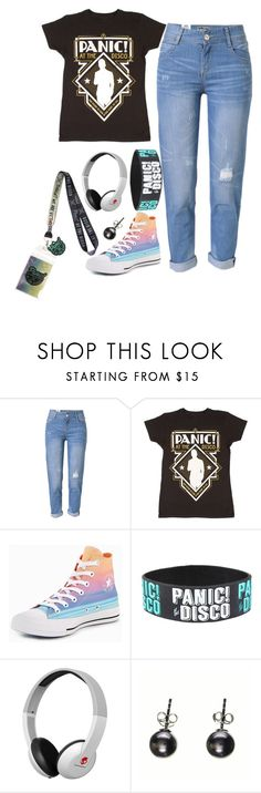 """""""Me on the last day of school"""" by pidgethegreatest ❤ liked on Polyvore featuring WithChic, Converse, Hot Topic and Black"""
