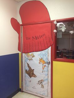 """My classroom door, all decorated for winter! Based on """"The Mitten""""."""