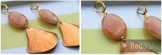 Peach Adventurine and Vintage Copper Earrings