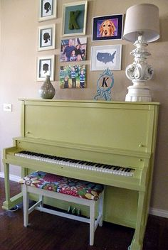 Green Piano. i was thinking of refinishing mine.. and getting a cute bench too!