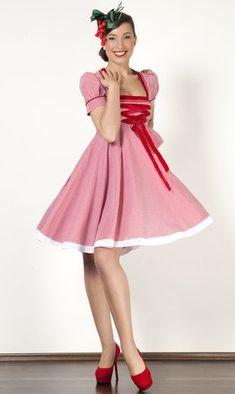 Kurzes Dirndlkleid, rot-weiß Vichykaro. Schwarzwald Couture