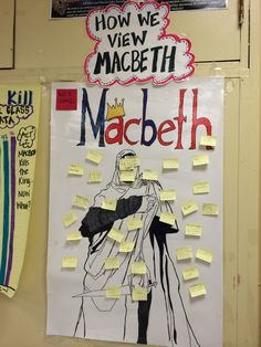 Can do this with Hamelt. Use Post-It notes to have students write how they view a character. You can repeat the prompt numerous times through out the text, as students evaluate how the character has changed. This activity worked wonderfully with Macbeth Ela Classroom, High School Classroom, English Classroom, Classroom Activities, Classroom Decor, Teaching Literature, Teaching Reading, Learning, Teaching Strategies