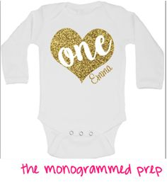 First Birthday Outfit for Girl, 1st Birthday Shirt, Gold or Silver Glitter One Onesie with heart, Personalized 1st or 2nd Birthday Outfit