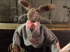 Primitive Easter Rabbit Doll FolkArt Joy by leighsstonehouse, $74.00