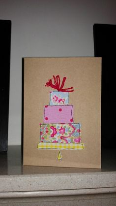 Handmade Wedding card, fabric and embroidery on card