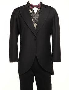 Men's Vintage Costume Rococo Black Coat Retro Overcoat