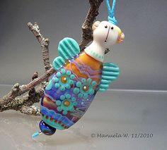 Ocean Flowers - Handmade Art Glass Angel Lampwork Bead